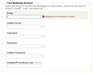 Ваш емейл та пароль для реєстрації на Medscape